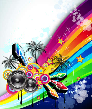 Tropical Music Event Disco Flyer with rainbow colours Illustration