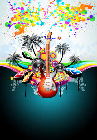 Tropical Music Event Disco Flyer with rainbow colours Stock Vector - 8427680