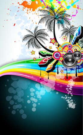 Tropical Music Event Disco Flyer with rainbow colours Stock Vector - 8433097