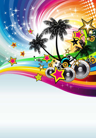 Tropical Disco Dance Background with music and fantasy design elements Stock Vector - 8427787