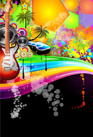 Tropical Music Event Disco Flyer with rainbow colours Stock Vector - 8427706
