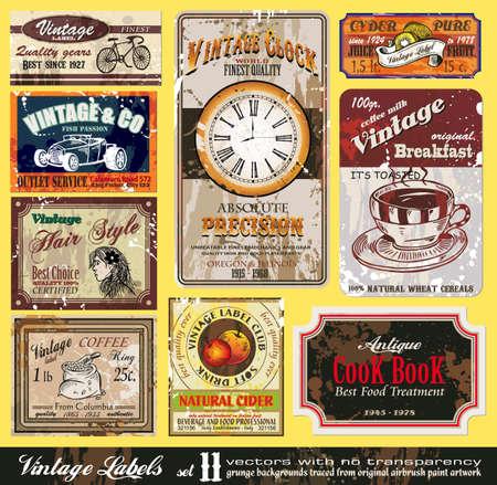 Vintage Labels Collection - nine design elements with original antique style  Vector