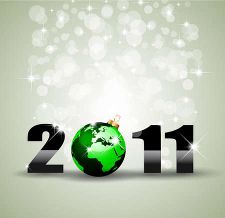 Ecology Green Themed Greetings Background for  New Year Posters Vector