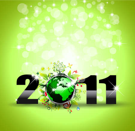 Ecology Green Themed Greetings Background for  New Year Posters Stock Vector - 8548437