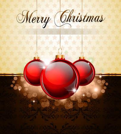 Vintage Christmas Baubles Background for Elegant Invitation Flyer or Brochure Vector