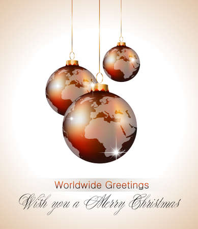 vintage world map: Worlds Christmas Baubles Background for Elegant Invitation Flyer or Brochure