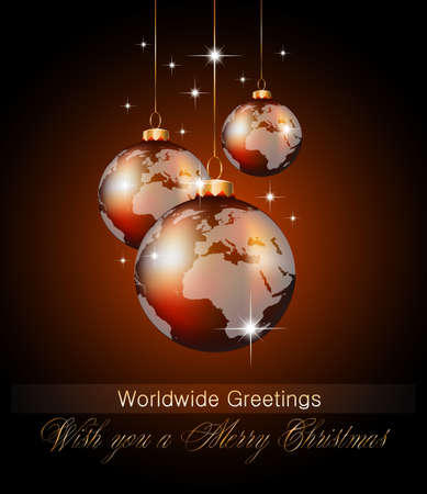 golden globe: Worlds Christmas Baubles Background for Elegant Invitation Flyer or Brochure