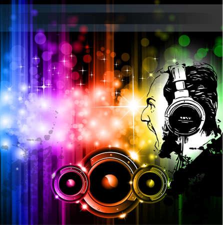 disk jockey: Screaming DJ Background for alternative disco flyers