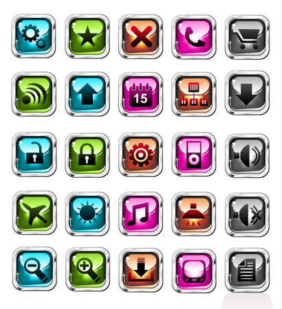 Quality Icon Set with Glossy and Colorful Utility Elements Vector
