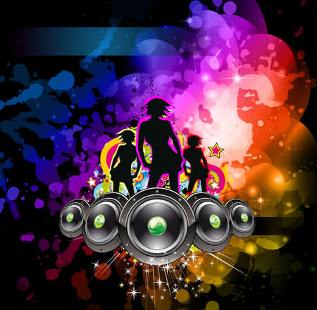 Girls Discoteque Event Flyer for Music Themed Flyers Vetores