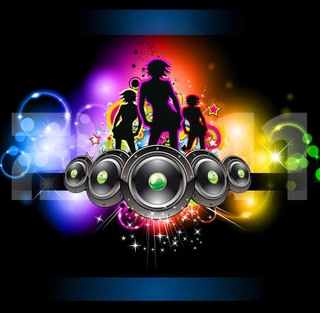 Girls Discoteque Event Flyer for Music Themed Flyers Vector