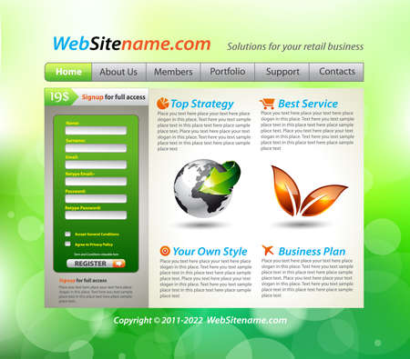 Environment Style WebSite Business Template with accurate Globe illustration Vector