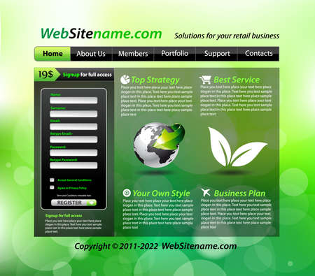 Business GREEN eco themed website template Stock Vector - 8824945