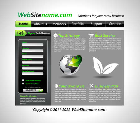 Business GREEN eco themed website template Stock Vector - 8824903