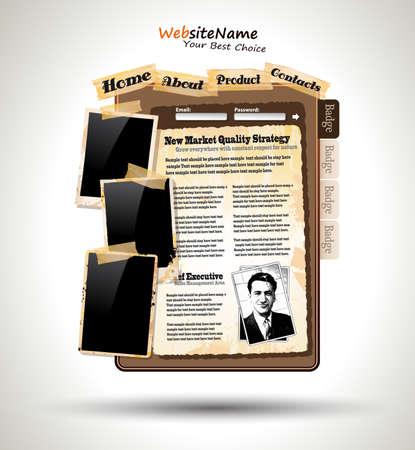 online newspaper: Vintage Style Website Template Illustration