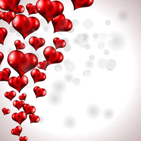 Resplandor rojo vuelan corazón Fondo para el volante de San Valentín