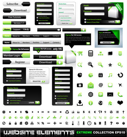 Web design elements extreme collection - frames, bars, 101 icons, bannes, login forms, buttons. Vector
