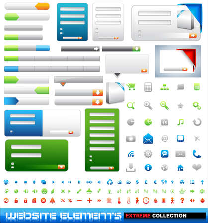 Web design elements extreme collection - frames, bars, 101 icons, bannes, login forms, buttons. Stock Vector - 8824911