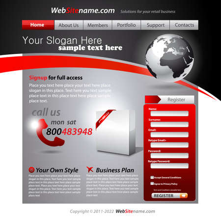 web site design template: Business WebSite Template with accurate Globe illustration