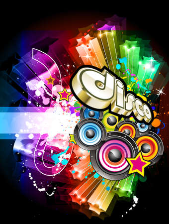 discoteque: Disco Dance Music Flyer with colorful background