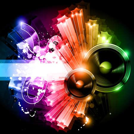 Música parte Disco Volante con brillo excepcional de luces Ilustración de vector