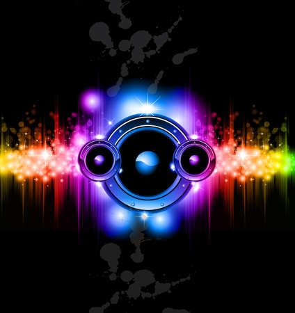 orador: Alta tecnolog�a futurista m�sica Disco fondo con brillantes luces de arco iris