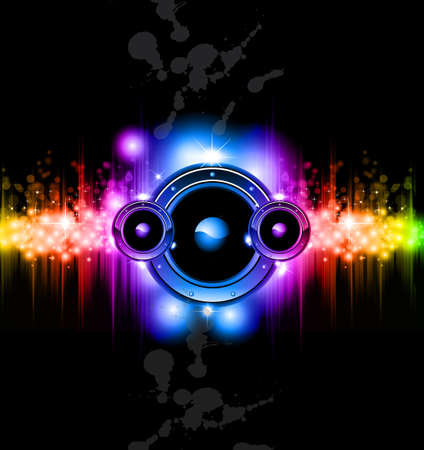 disk jockey: High Tech Futuristic Music Disco Background with glowing Rainbow lights Illustration