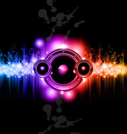ハイテク未来音楽ディスコ背景輝くレインボー ライト