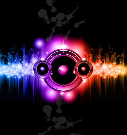 High Tech Futuristic Music Disco Background with glowing Rainbow lights Illustration