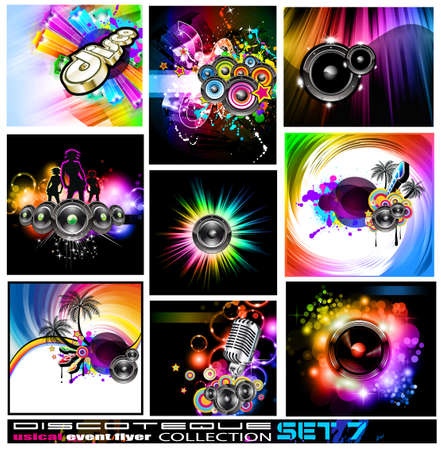 9 Abstract Music Backgrounds for Discoteque Flyer with a lot of desgin elementes - Set 7 Vector