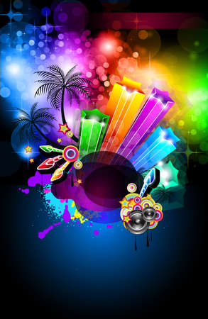 Disco Dance Tropical Music Flyer with colorful background Vector