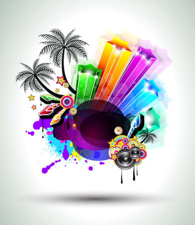 beach party: Disco Dance Tropical Music Flyer with colorful background Illustration