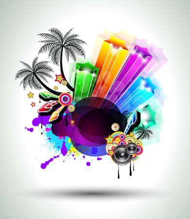 Disco dans tropische muziek folder met kleurrijke achtergrond Vector Illustratie