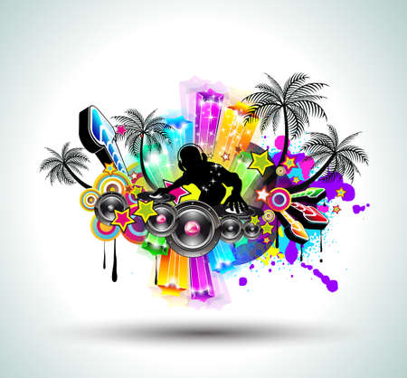 Tropical Music Party Disco Flyer with Exceptional Glow of lights Stock Vector - 8965967