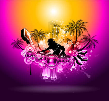Tropical Music Party Disco Flyer with Sunset Magic lights Vector