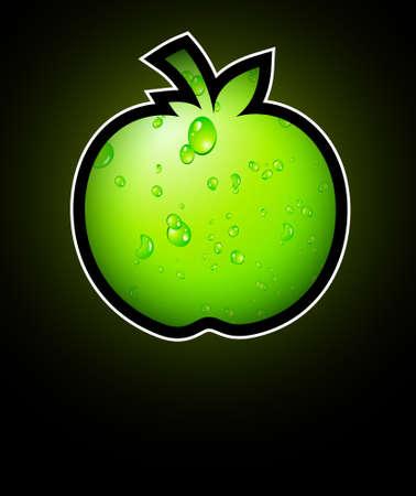 eco slogan: Ir verde y reciclar todo lema con apple l�quido verde de volantes de Eco