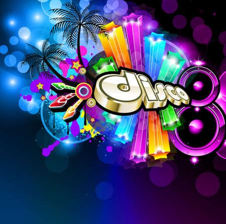 fiestas discoteca: Volante de Disco de m�sica para bailar evento carteles con los colores del arco iris