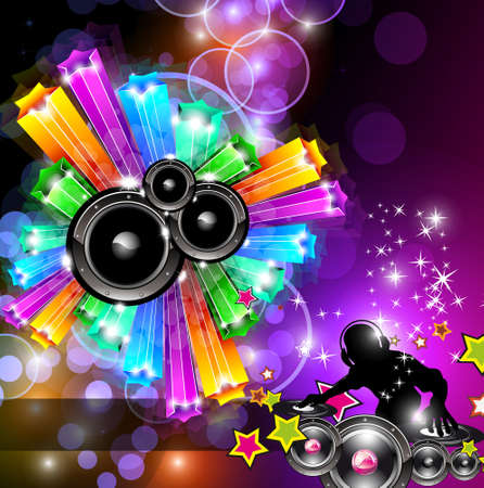 glowing: Music Disco Flyer for Dancing Event Posters with Rainbow Colours Illustration