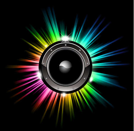 High Tech Futuristic Music Disco Background with glowing Rainbow lights Vector