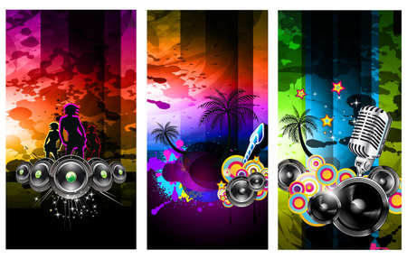Set of 3 Music Party Disco Flyer with Exceptional Glow of lights Vector