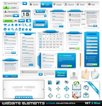 Web design elementen extreme collectie 2 - vele andere vorm stijlen, frames, bars, pictogrammen, banners, login formulieren, knoppen, enzovoort!