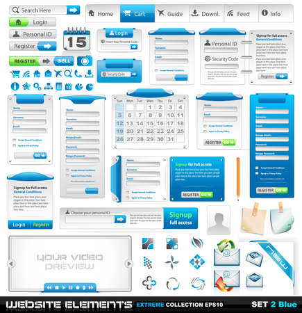 Web design elements extreme collection 2 - Many different form styles, frames, bars, icons, banners, login forms, buttons and so on! Stock Vector - 8965975