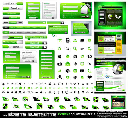 Web design elements extreme collection - frames, bars, 101 icons, bannes, login forms, buttons.4 websites,4software boxes and so on! Stock Vector - 8965981