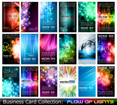 blank brochure: Abstract Business Card Collection: Flow of lights