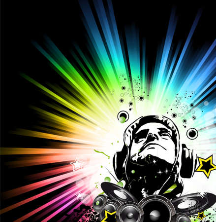 Music Party Disco Flyer with Exceptional Glow of lights Illustration