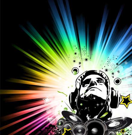Muziek partij Disco Flyer met uitzonderlijke gloed van licht