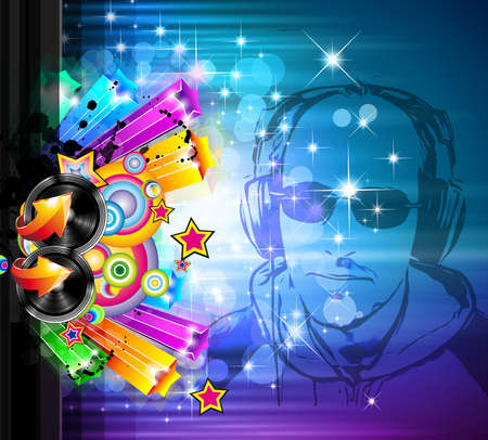 scheibe: Magische Lichter Disco Flyer mit DJ Form und eine Menge von Sternen