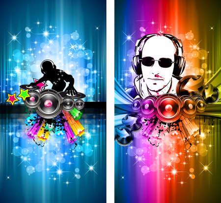 disk jockey: Magiche luci discoteca Flyer con forma di DJ e un sacco di stelle