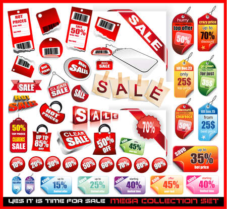 Yes its time to sale! Sale Tags Mega Collection Set with a lot of design elements Vector