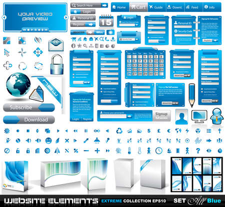 Web Elements EXTREME collection 2 All Blue: login forms, bars,button, 100 more icos, 8 business cards, software boxes and so on Stock Vector - 9116034